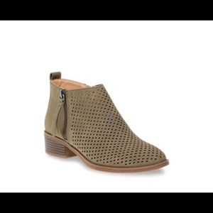 Olive green faux suede perforated ankle booties, 8